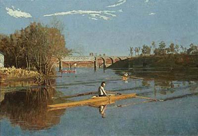 Painting:  Max Schmitt In a Single SKull, 1871