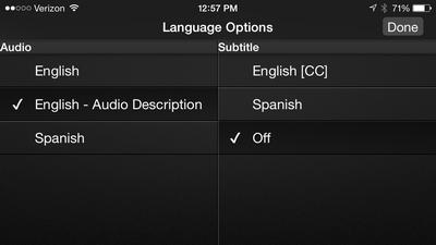 Accessing Audio Description on Netflix